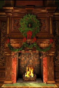 Christmas Chimney Backdrop (Material: Microfiber)