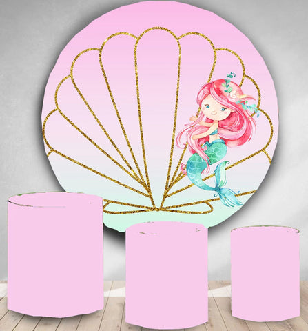 Pink Mermaid Rounded Backdrop (Material: Polyester)