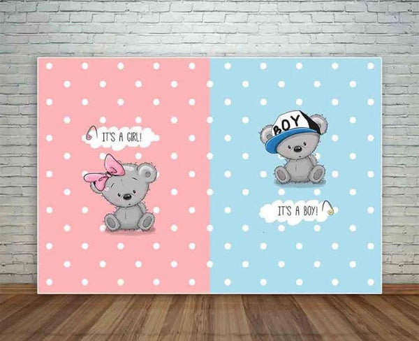 Bear Gender Reveal Backdrop