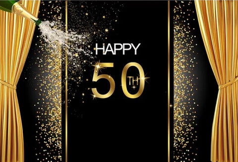 Happy Birthday Champagne Backdrop (Material: Vinyl)