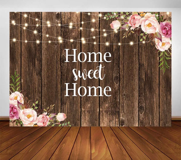 Wood and Flowers Backdrop (Material: Vinyl)