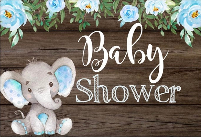 Blue Baby Elephant Backdrop