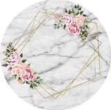 Flowers in Pink Rounded Backdrop (Material: Polyester)