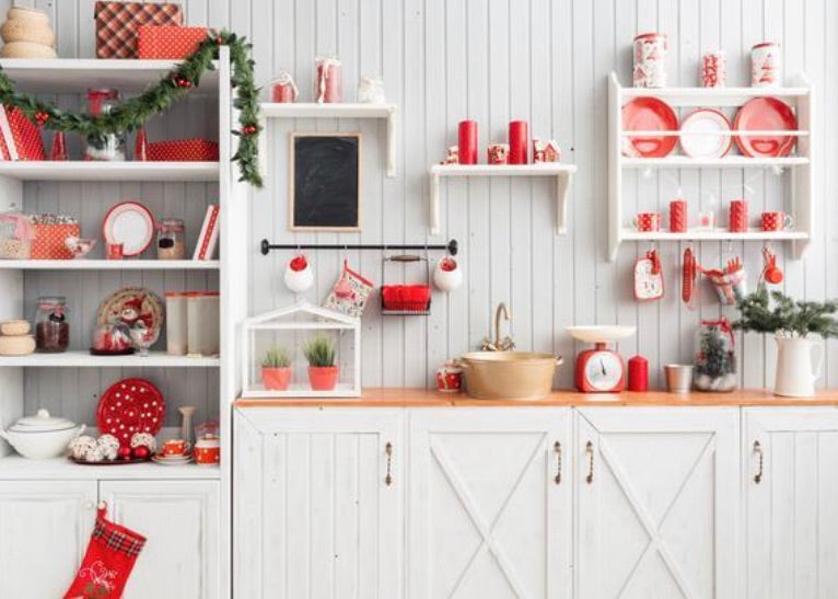 Christmas Red Kitchen Backdrop
