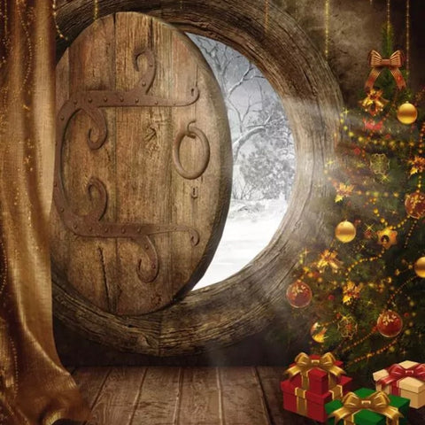 Christmas Door Backdrop (Material: Microfiber)