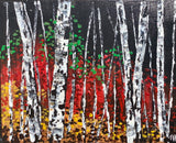 Birches by Campfire Light