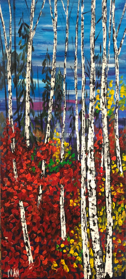 Birches on Red and Blue