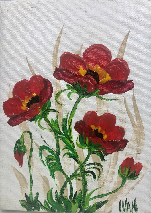 Poppies on Red
