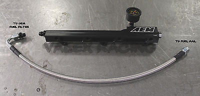 AEM B Series Fuel Rail / Stainless Fuel Line / Liquid Fuel Gauge Combo Honda