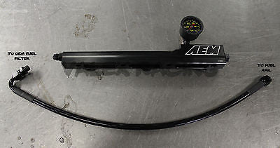 AEM B Series Fuel Rail/Black Stainless Fuel Line/Liquid Fuel Gauge Combo Honda