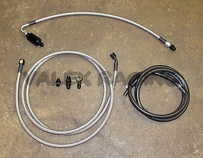 92-95 Civic 2dr Coupe Tucked Stainless Steel Complete Fuel Line System -6 Silver