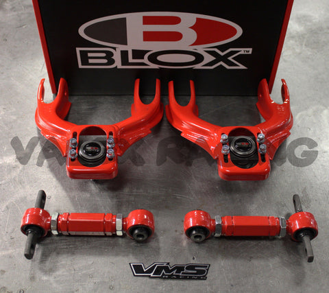 Blox RED Front & VMS Rear Camber Kit Combo 92-95 Civic 94-01 Integra EG DC2