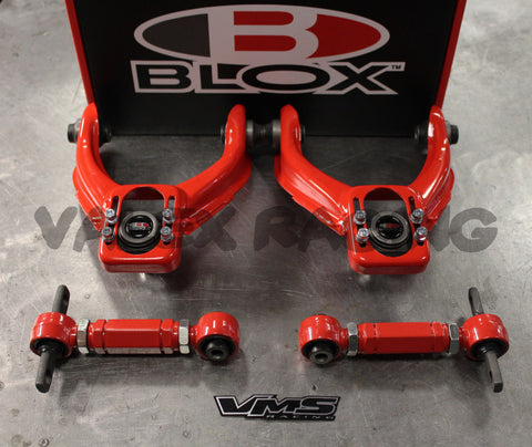 Blox RED Front & VMS Rear Camber Kit Combo HONDA CIVIC 96-00 EK