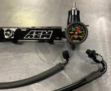AEM Fuel Rail / Regulator / Fuel Line / Gauge Package for Honda Prelude H22 H2B