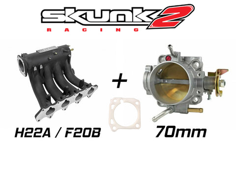 Skunk2 Black Pro Intake Manifold & Alpha 70mm Throttle Body for Honda H / F Series H22 F20B