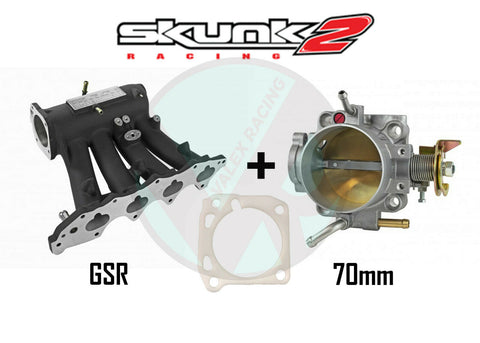 Skunk2 Black Pro Intake Manifold & Alpha 70mm Throttle Body for Honda Acura GSR B18C1