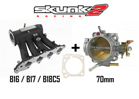 Skunk2 Black Pro Intake Manifold & Alpha 70mm Throttle Body for Honda Acura B16 B17 B18C5