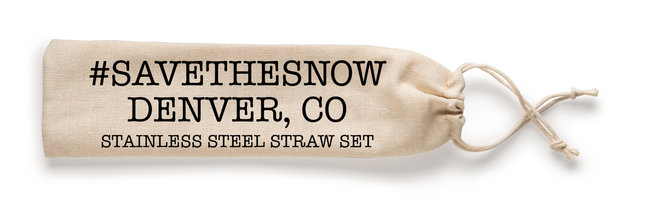 #SavetheSnow Denver Colorado Reusable Stainless Steel Straw Set