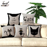 "18"" Cute Cat Printed Decorative Sofa Cushion"