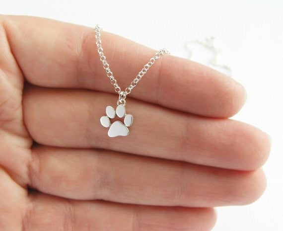Silver Choker Necklace Cats and Dogs Paws Print