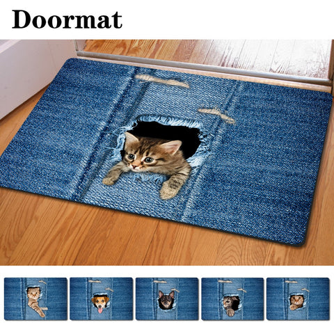 Welcome Floor Mats Cat Print Bathroom or Kitchen Carpet House Doormats for Living Room Anti-Slip Rug