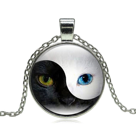 Tai Chi YIN YANG Cat Silver Necklace