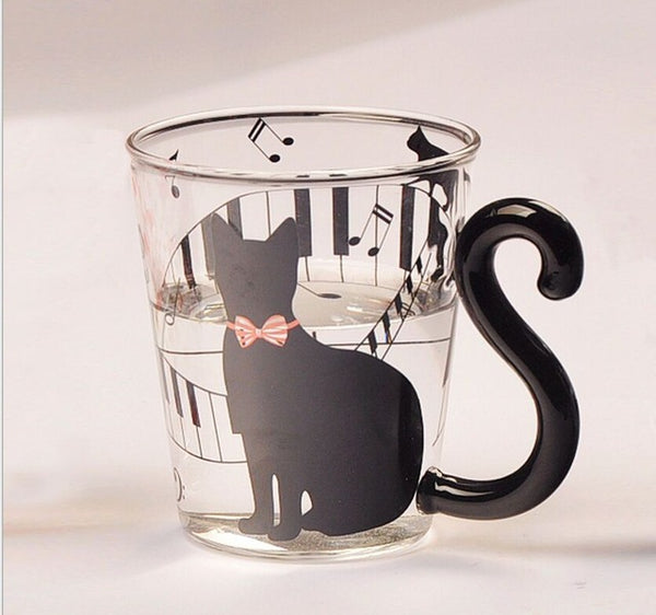 Cute Tail Black Cat Kitty Water Glass