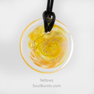 Glass Pendant with Ashes - Cremation Jewelry - Yellow