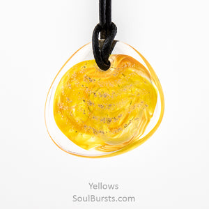 Glass Cremation Necklace - River - Yellow