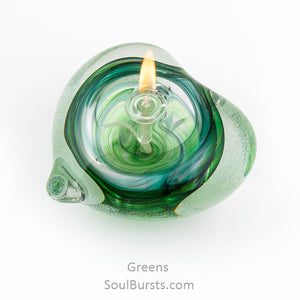 Cremation Glass Heart - Green