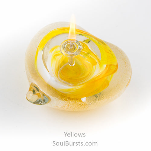 Cremation Glass Heart - Yellow
