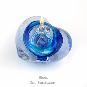 Cremation Glass Heart - Blue