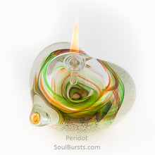 Load image into Gallery viewer, Cremation Glass Heart - Green Yellow Peridot