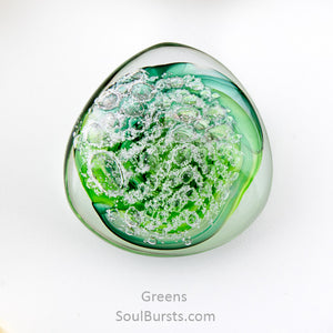 Cremation Stones for Ashes - River Touchstones - Green