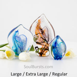 Cremation Ashes in Glass - Spirit Sail Sizes