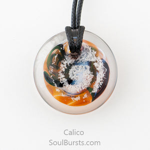 Glass Pendant with Ashes - Cremation Jewelry - Calico