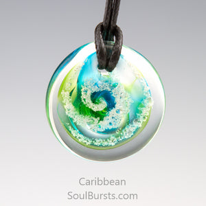 Glass Pendant with Ashes - Cremation Jewelry - Caribbean