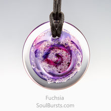 Load image into Gallery viewer, Glass Pendant with Ashes - Cremation Jewelry - Fuchsia