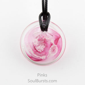Glass Pendant with Ashes - Cremation Jewelry - Pink