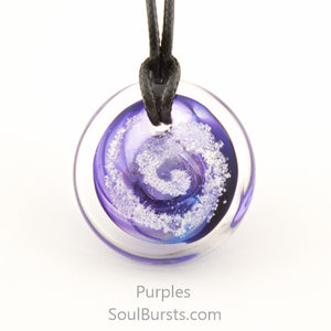 Glass Pendant with Ashes - Cremation Jewelry - Purple