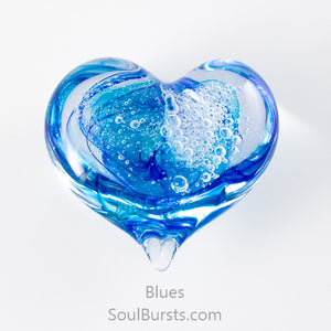 Glass Heart with Ashes - Blue