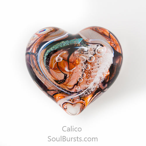 Glass Heart with Ashes - Calico