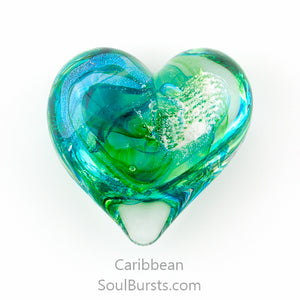 Glass Heart with Ashes - Caribbean