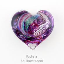 Load image into Gallery viewer, Glass Heart with Ashes - Purple Fuchsia