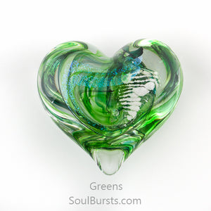 Glass Heart with Ashes - Green