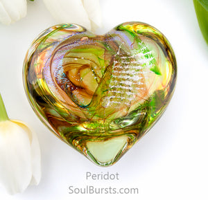 Glass Heart with Ashes - Green Yellow Peridot