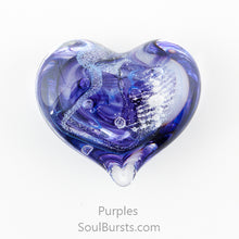 Load image into Gallery viewer, Glass Heart with Ashes - Purple