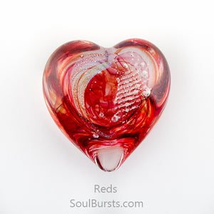 Glass Heart with Ashes - Red
