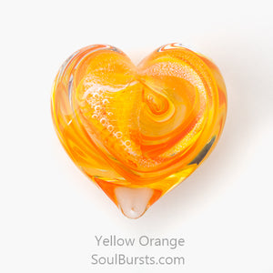 Glass Heart with Ashes - Orange