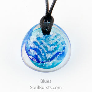 Glass Cremation Necklace - River - Blue